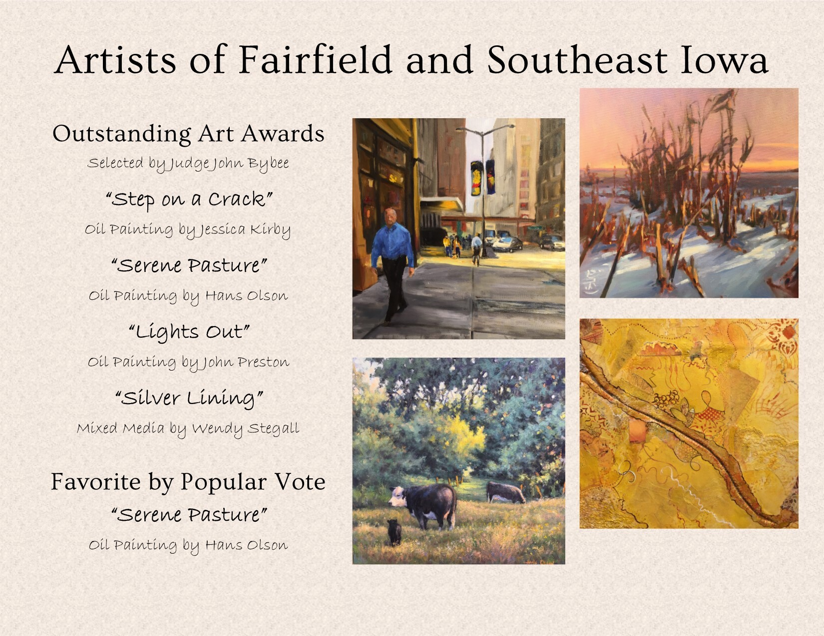 """Artists of Fairfield and Southeast Iowa"" 2020 Traveling Exhibition Image"