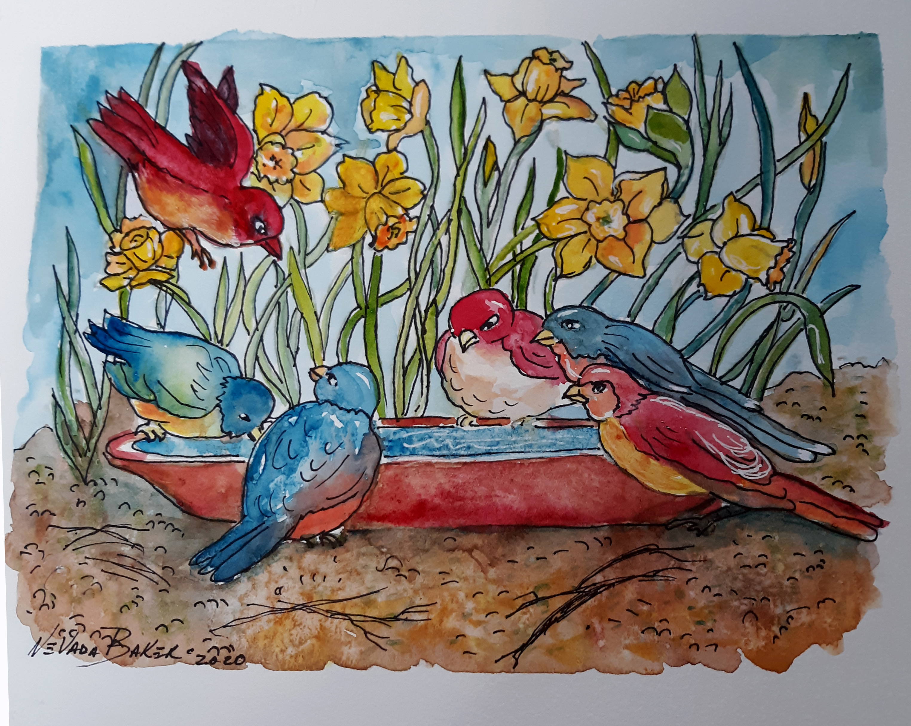 Red Barn Studio with Vada Baker - Garden Bath Time Watercolor Image