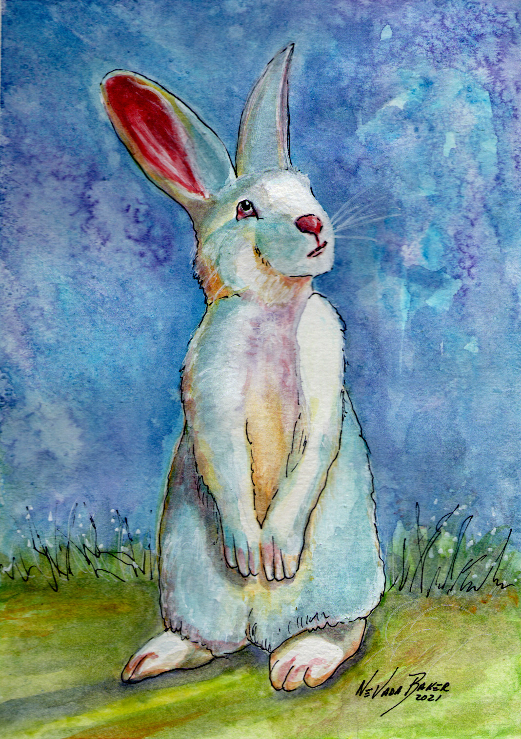 Red Barn Studio with Vada Baker- Hippity Hop Bunny Watercolor Image