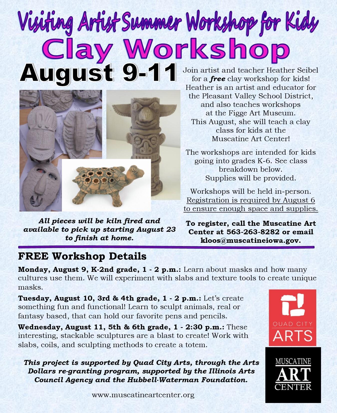Visiting Artist Summer Workshop for Kids- Clay Workshop, August 9-11 Image
