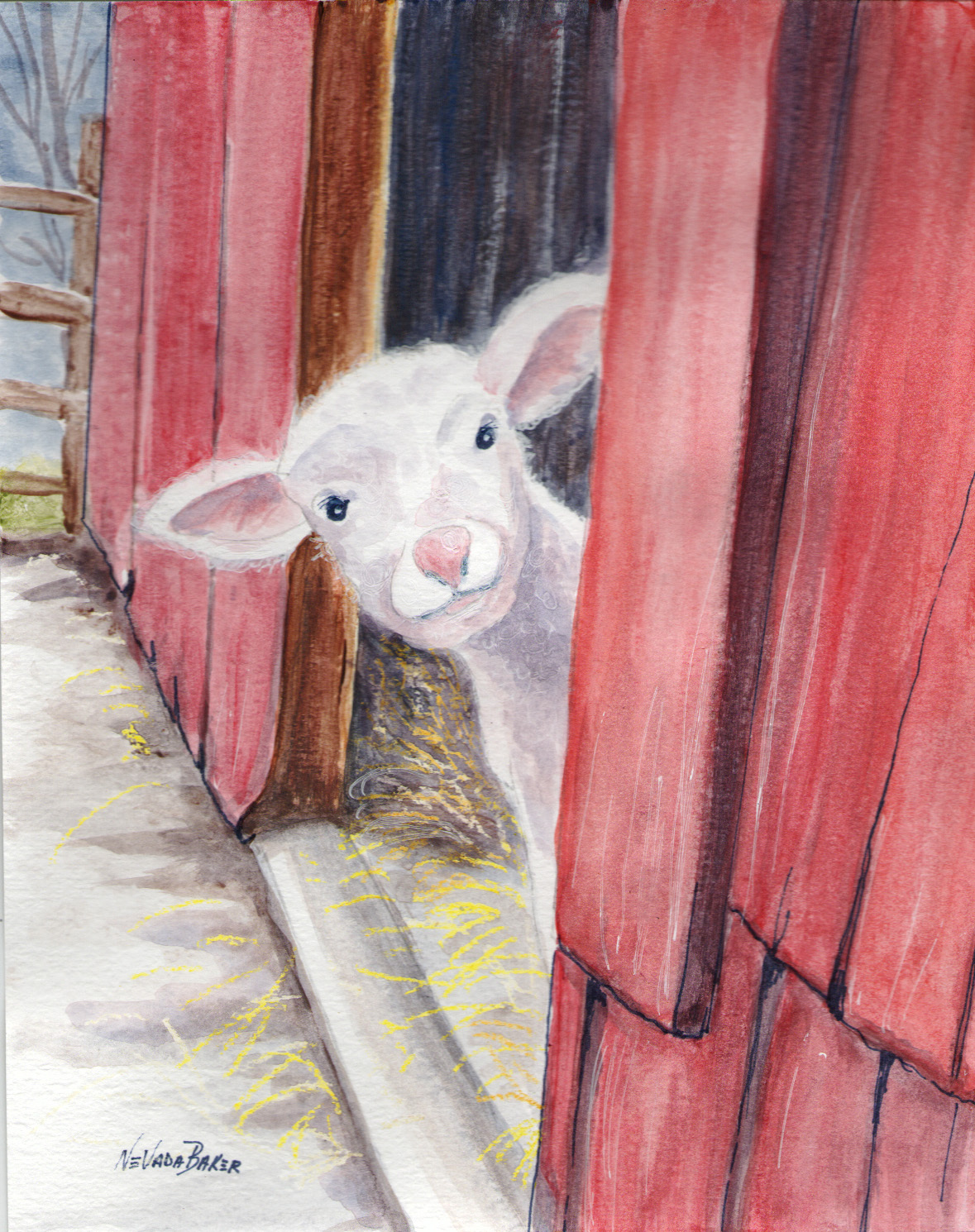 Red Barn Studio with Vada Baker- Playful Lamb Watercolor Image