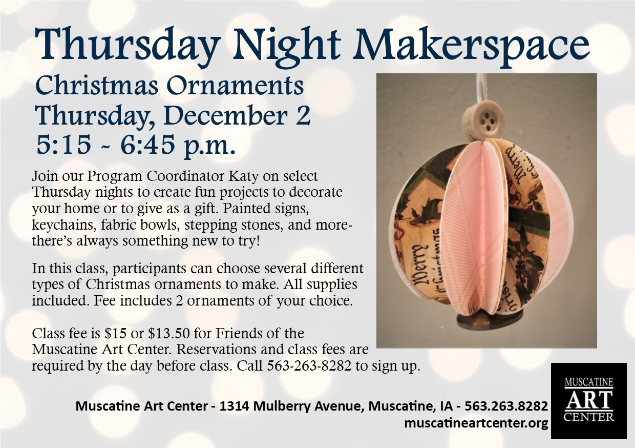Thursday Night Makerspace - Christmas Ornaments (your choice), December 2 Image