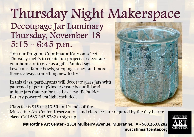 Thursday Night Makerspace - Decoupage Jar Luminary, November 18 Image