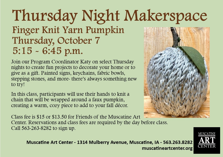 Thursday Night Makerspace - Finger Knit Yarn Pumpkin, October 7 Image