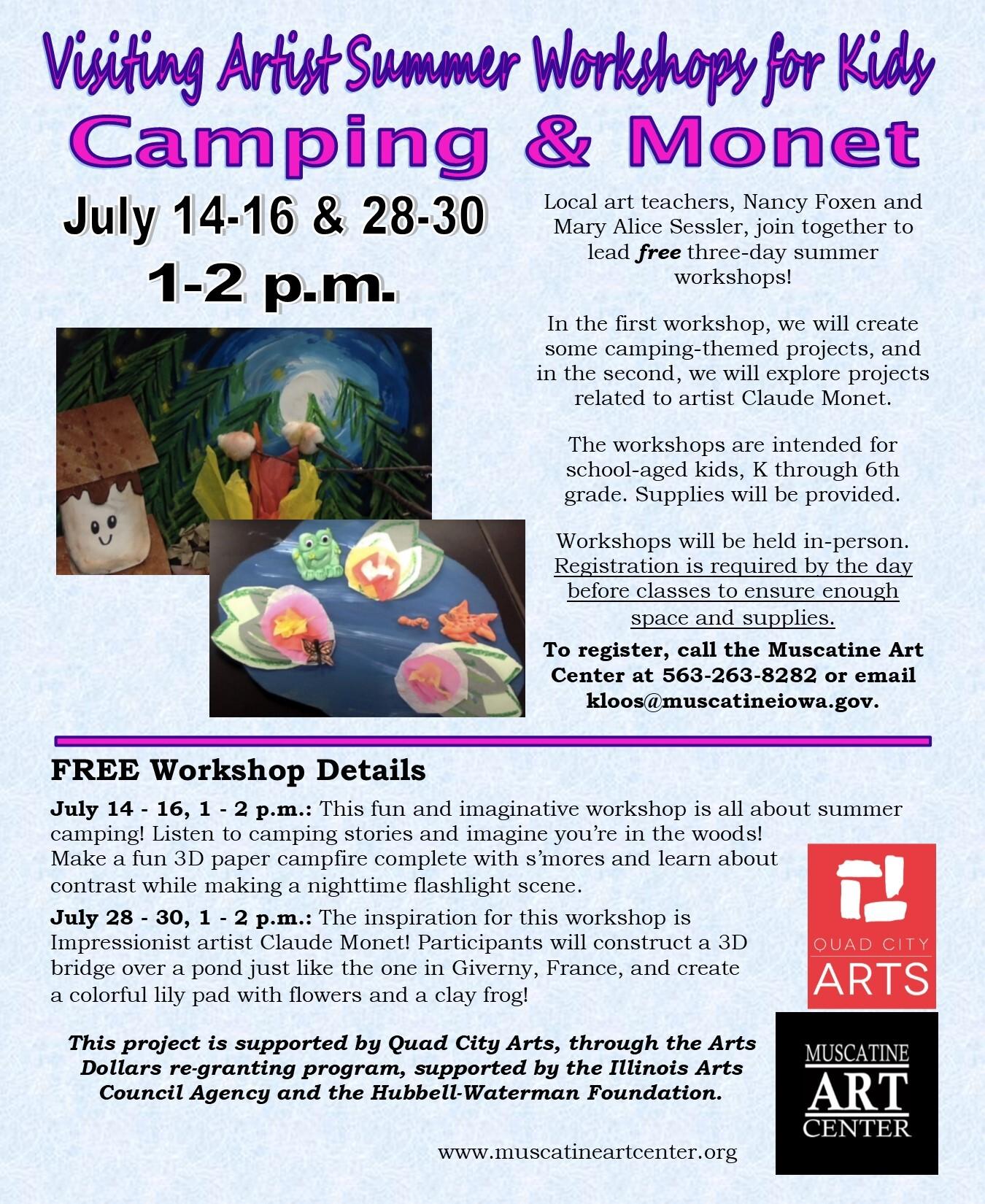 Visiting Artist Summer Workshops for Kids- Camping Themed Workshop, July 14-16 Image