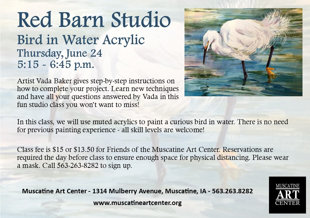 Red Barn Studio with Vada Baker- Bird in Water Acrylic Image