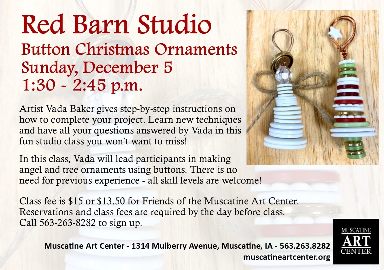 Red Barn Studio with Vada Baker - Button Christmas Ornaments, December 5 Image