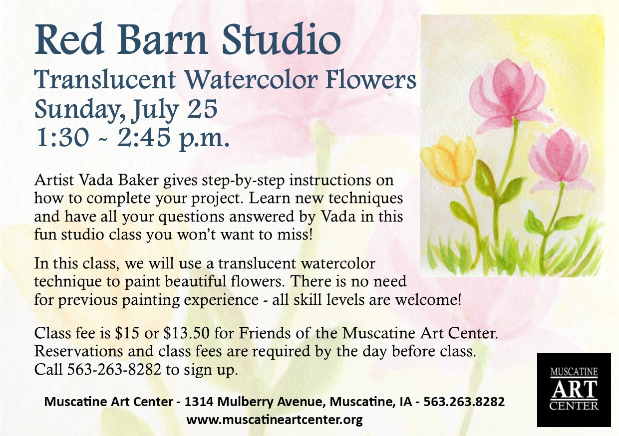 Red Barn Studio with Vada Baker - Translucent Watercolor Flowers, July 25 Image