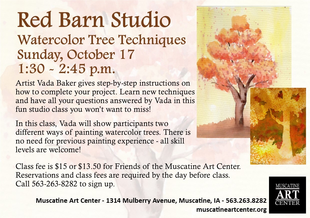 Red Barn Studio with Vada Baker - Watercolor Techniques for Painting Trees, October 17 Image