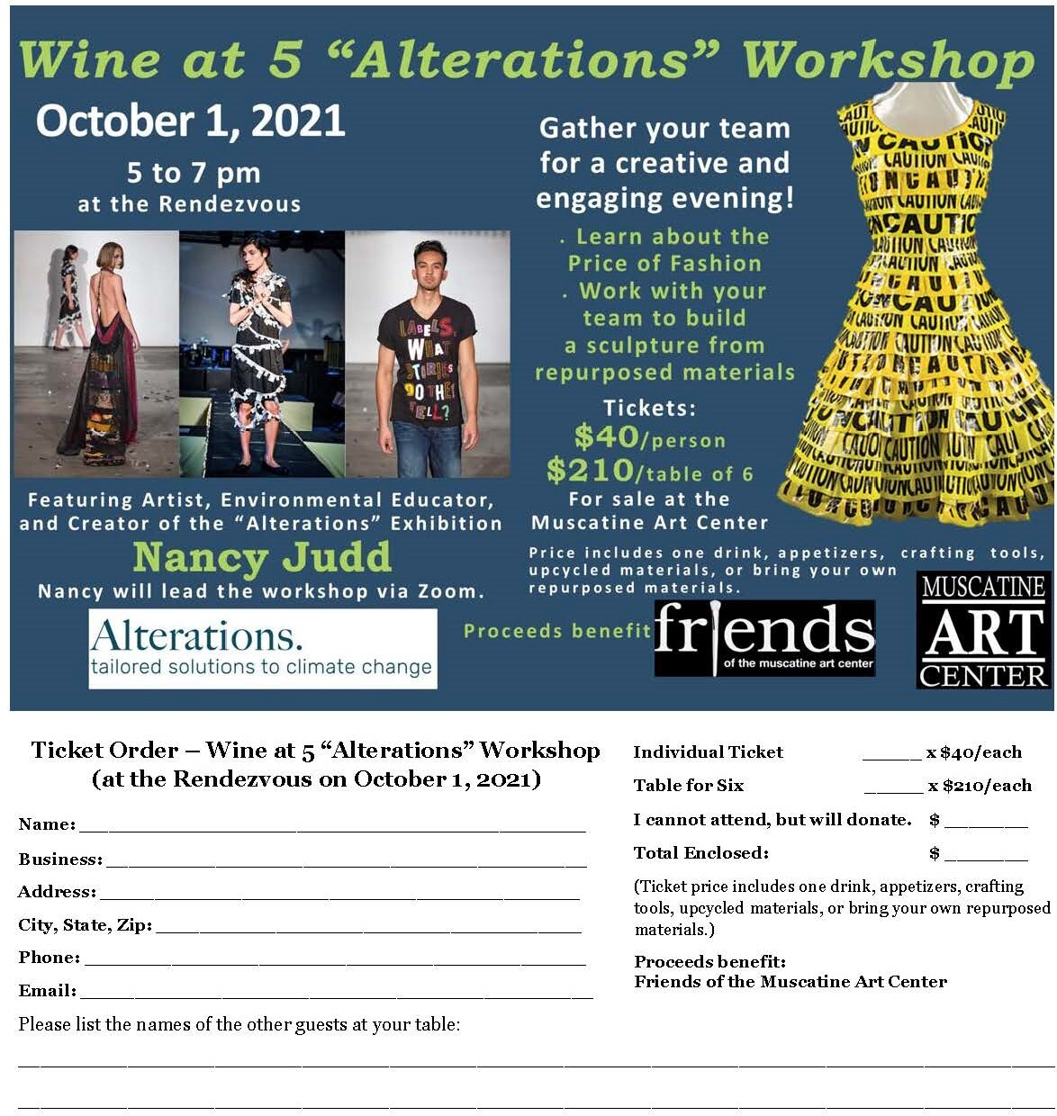 """Wine at 5 """"Alterations"""" Workshop, October 1, 5-7 p.m. Image"""