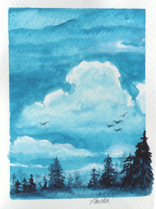 Red Barn Studio with Vada Baker - Watercolor Clouds with Sky, Birds, and Trees, August 29 Image