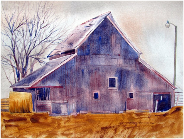 Red Barn Studio with Vada Baker - Down on the Farm Watercolor Image