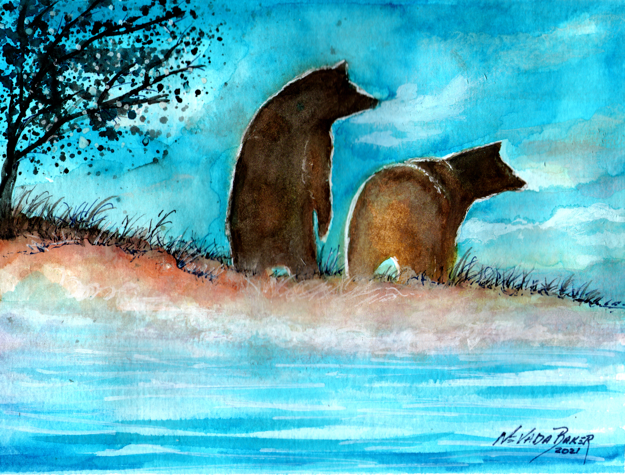 Red Barn Studio with Vada Baker- Bears at Dusk Watercolor Image