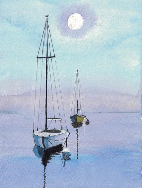 Red Barn Studio with Vada Baker- Serenity on the Sea Watercolor August 20 Image