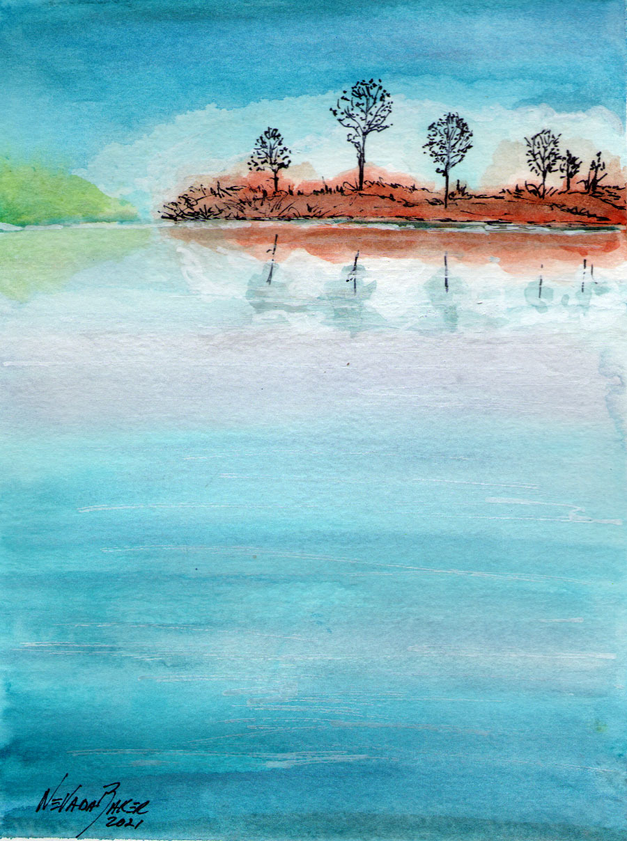 Red Barn Studio with Vada Baker- Serenity Reflections Watercolor Image