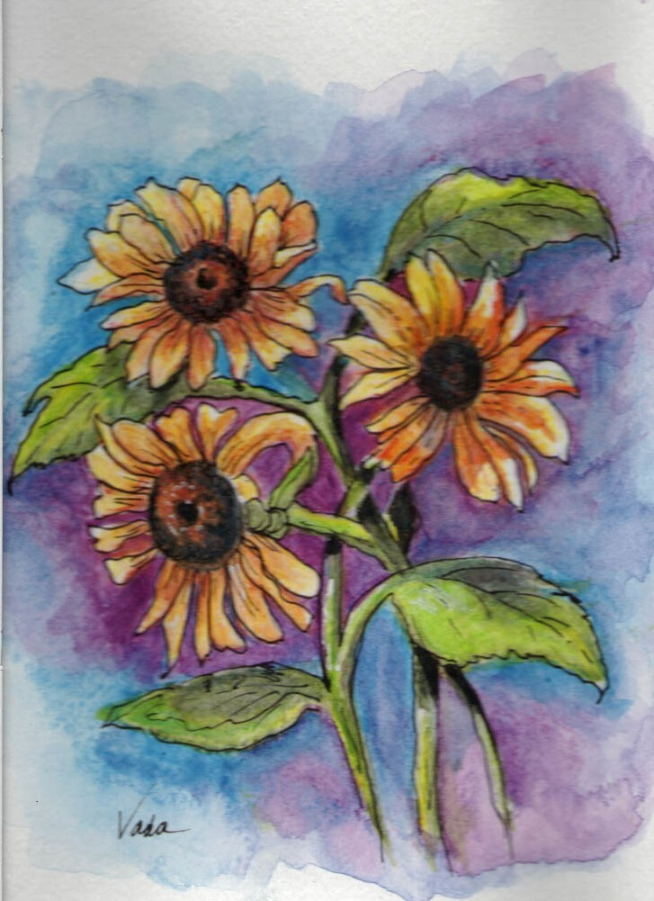 Red Barn Studio with Vada Baker - Watercolor Pencil Sunflowers, September 26 Image
