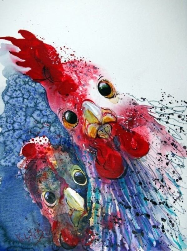 Red Barn Studio with Vada Baker- Colorful Rooster Image