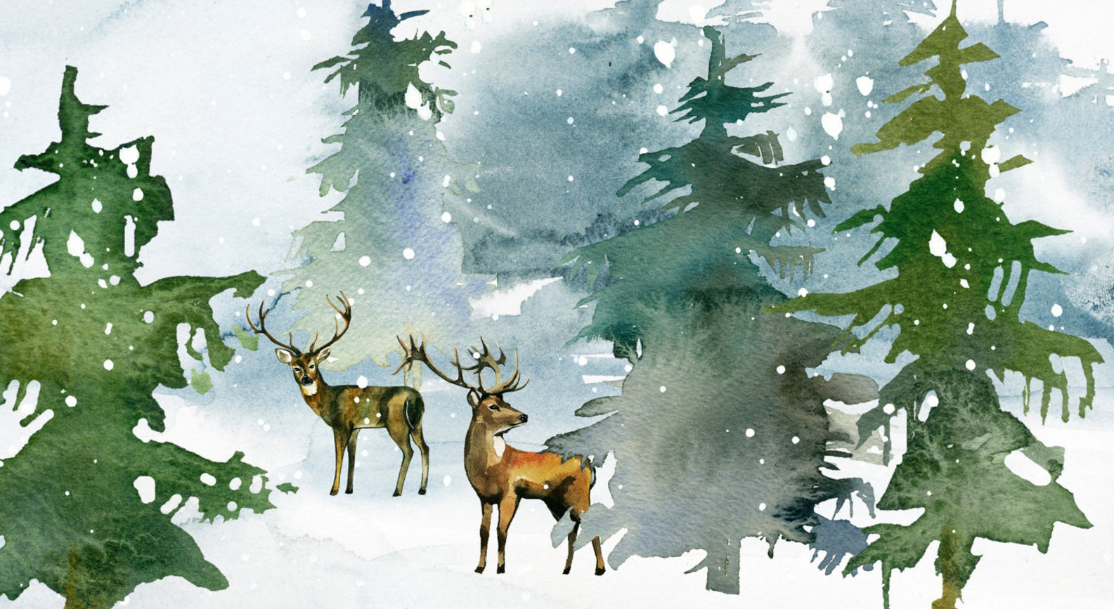 Red Barn Studio with Vada Baker- Winter Pines Watercolor November 15 Image
